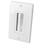 Single Gang Decor Style Brush Bulk Cable Wall Plates (White)