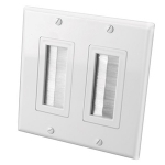 Double Gang Decor Style Brush Bulk Cable Wall Plates (White)