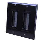 Double Gang Decor Style Brush Bulk Cable Wall Plates (Black)