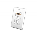 S-VGA Wall Plate Insert with Dual Keystone Openings (White)