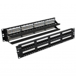 Loaded, 48 Port 2U, CAT6 RJ45 Patch Panel /w Lacing Bar