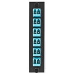FSP Adapter Panel, LC Duplex, 12-port, Phosphor Bronze, Loaded with 6 Aqua Adapters