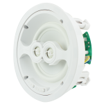 "2 Way In-Ceiling Speaker, Dual Voice Coil, 6.5""  White Polypropylene Woofer, Dual 1"" Silk  Dome Swivel Tweeters"